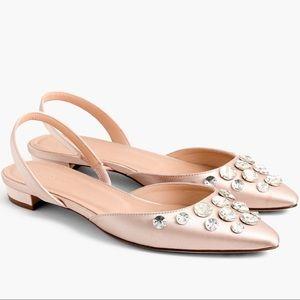 J. Crew Shoes - 🆕 J.Crew Embellished Satin Slingback Flats